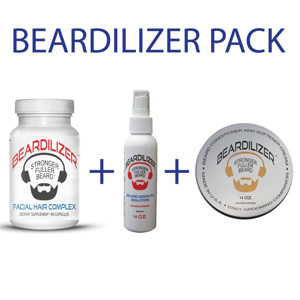 Beard Supplement, Beard Cream and Beard Spray Value Pack