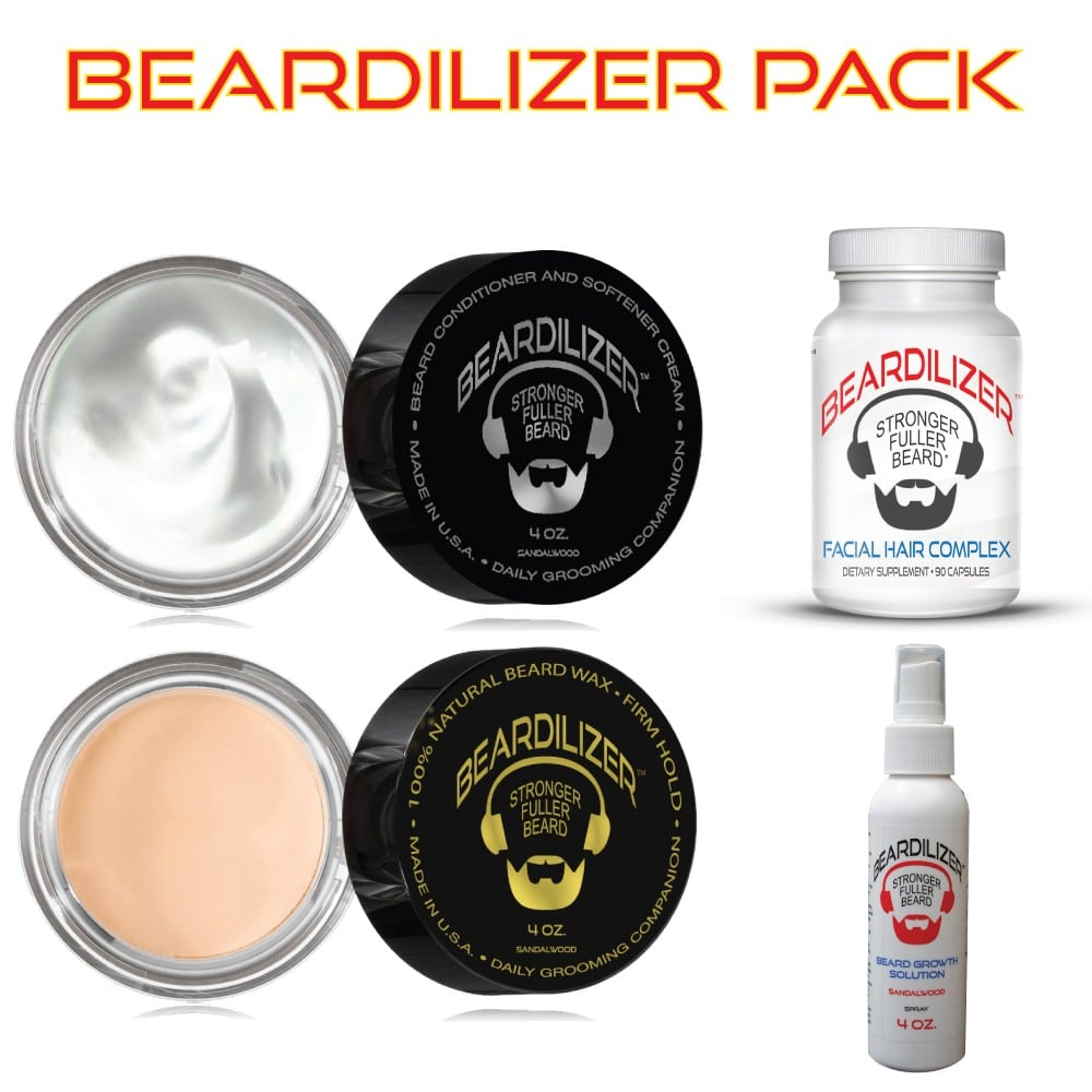 Beard Supplement, Beard Cream, Beard Wax and Beard Spray Value Pack